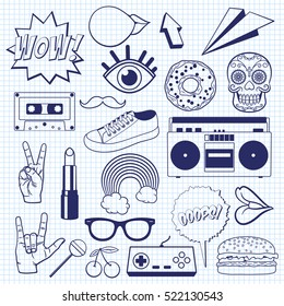 Retro cartoon icons on a squared notebook sheet. Sketch of vintage signs and symbols.