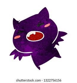 retro cartoon illustration of a kawaii cute bat