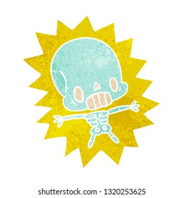 retro cartoon illustration kawaii electrocuted skeleton