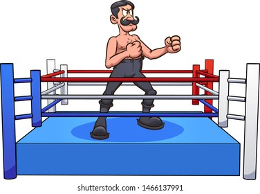 Retro cartoon male boxer with handle bar mustache on a boxing ring clip art. Vector illustration with simple gradients. Some elements on separate layers.