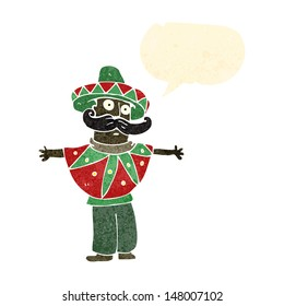 retro cartoon man in mexican outfit