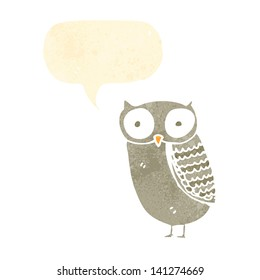 retro cartoon owl with speech bubble