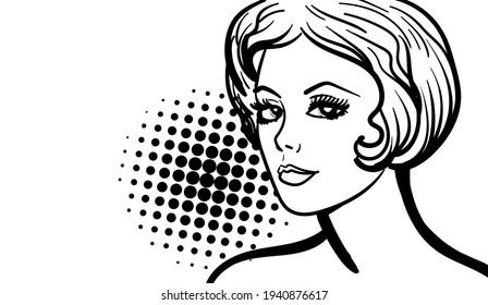 Retro cartoon pop art lady. Balck and white comics-style illustration. Hand-drawn vector illustration.