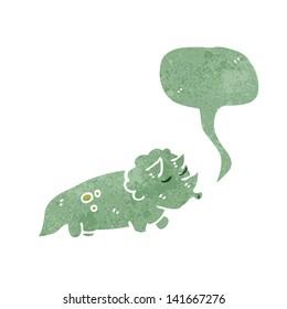 retro cartoon triceratops with speech bubble