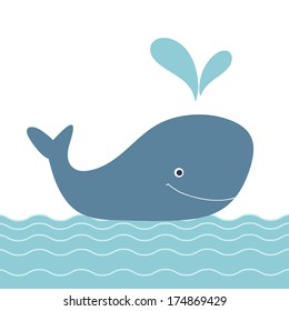 Retro cartoon whale.Baby shower invitation. Beautiful happy birthday greeting card with whale and sea.