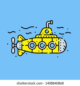 Retro cartoon yellow submarine line icon. Vector illustration.