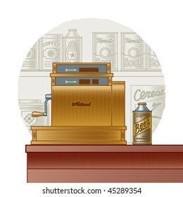 Retro cash register. Vector