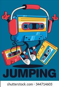 retro cassette character design for tee