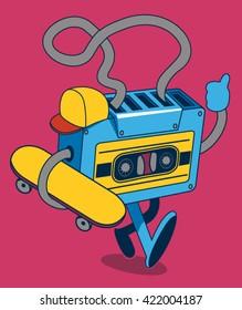 retro cassette, skater character design for tee