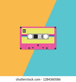 Retro cassette tape on duotone background. Vector illustration