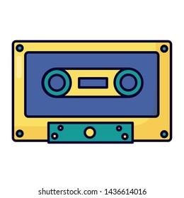retro cassette tape on white background vector illustration