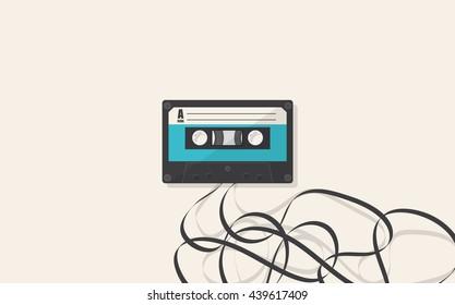 Retro Cassette Vector Flat illustration.