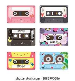 retro cassettes icon bundle design, Music vintage tape and audio theme Vector illustration