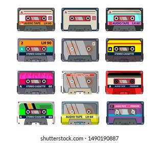 Retro cassettes set. Audio tape, recording, vintage. Music concept. Vector illustrations can be used for topics like analogue technology, music recorder, vintage player