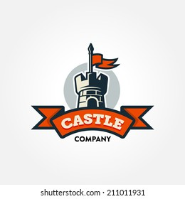 Retro castle illustration with red banner and text space. Communicates metaphor of guard, protection, safety, security, strength and force. Clear symbol to illustrate idea of history and traditions