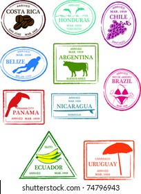 Retro Central and South America Set of Fun Country Passport Stamps Vector Illustration