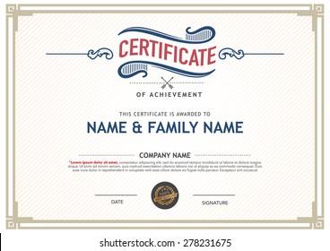 Retro certificate design template.