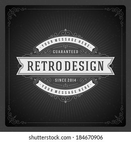 Retro chalkboard typographic design elements. Template for design invitations, posters and other design.