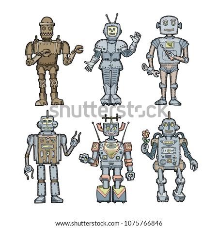 Retro Character Color Sketch Robots Set Stock Vector Royalty Free