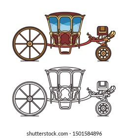 Retro chariot for weddings or contour of old Jose coach, icon of royal dormeuse carriage or outline of britzchka, vintage perth-cart, fairytale waggon,medieval transport or brougham wagon, perth-cart