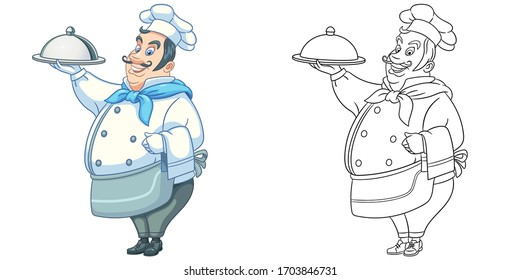 Retro chef cook. Coloring page and colorful clipart character. Cartoon design for t shirt print, icon, logo, label, patch or sticker. Vector illustration.