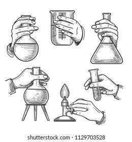 Retro chemical experiments. Vintage science laboratory beakers and burners, old sketch hands of chemist in handdrawn style, vector illustration