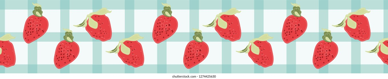 Retro chic seamless border pattern of bright red strawberries on a white and  blue gingham check. 1950s style vector, great for restaurants, textiles, home decor, fashion and graphic design use.