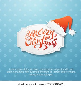 Retro Christmas background. Blue snowflakes background and paper badge with Santa hat. There is place for your text.