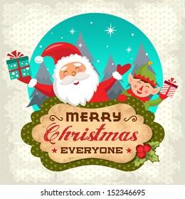Retro Christmas background with Santa claus and Christmas elf