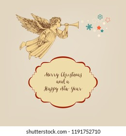 Retro Christmas card, angel and frame for greeting text