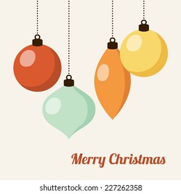 Retro christmas card with colorful christmas balls, vector illustration background