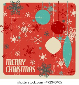 Retro Christmas card with christmas decorations and snowflakes - teal and red
