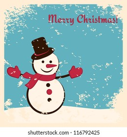 Retro Christmas card with happy snowman. Grunge effects can be easily removed.