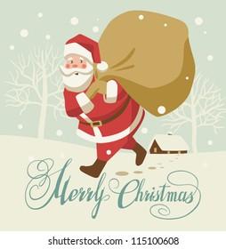Retro Christmas Card with Santa Claus