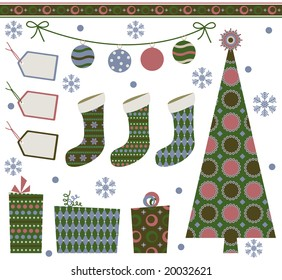 Retro Christmas design elements