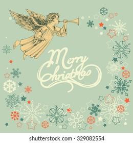 Retro Christmas greeting card, angel and snowflakes frame