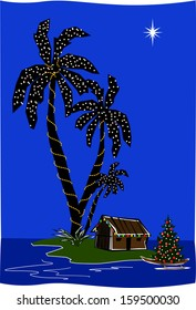 Retro Christmas Island Lagoon Tiki Hut with Palm Trees Vector Illustration