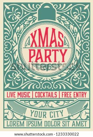 retro christmas party invitation holidays flyer stock vector