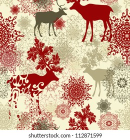 Retro Christmas pattern Seamless christmas background