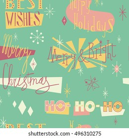 Retro christmas seamless pattern in mid century modern style