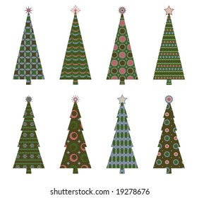 Retro Christmas trees in coordinating colors