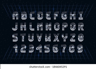 Retro Chrome Font in the Style of 80's. Vector Sci-Fi Typography. Letters and Numbers