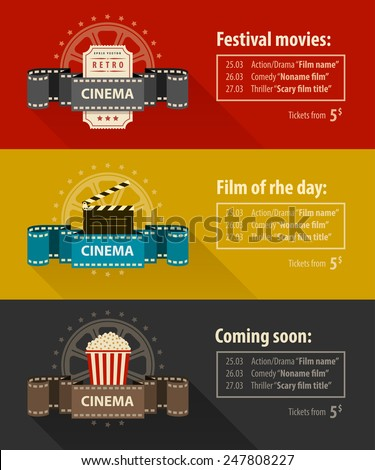 retro cinema banners posters flyers templates のベクター画像素材