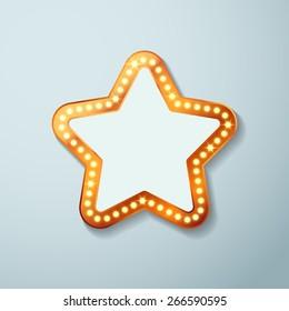 Retro cinema bulb sign star shape - vintage old theater casino or circus illuminated light frame banner. Vector illustration