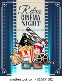 Retro cinema club night invitation poster  with movie theater tickets 3d glasses and popcorn snack vector illustration