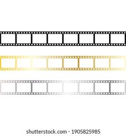 Retro cinema film strip, isolated vector illustration.