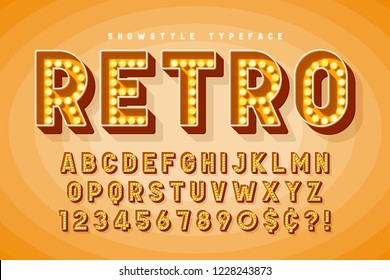Retro cinema font design, cabaret, Broadway letters and numbers. Swatches color control