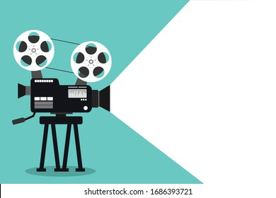 Retro cinema icon on blue background. Old camera film symbol. vector illustration flat design. Light beam ray space for text.