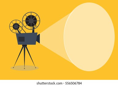 Retro cinema icon, vector illustration with copy space