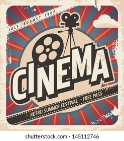 Retro cinema poster. Vector movie ad for summer festival. Vintage background illustration on old paper texture.